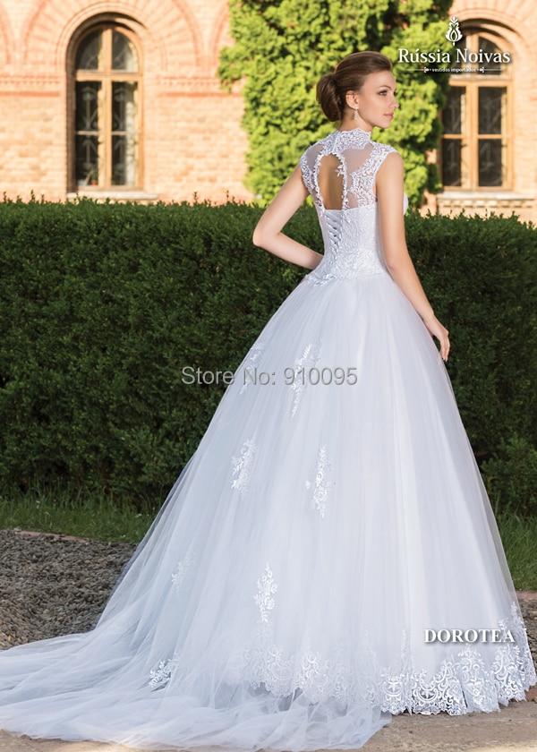 Vintage vestidos novia 2015 diseñador famoso De la alta del cuello ...