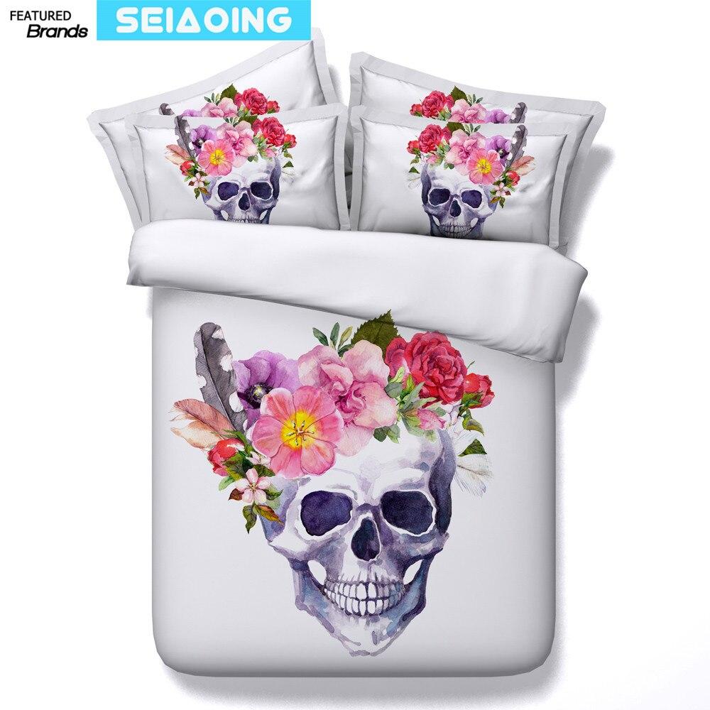 Suger crâne linge de lit blanc 3d imprimer floral couette housse de couette reine jumeaux literie ensembles 3/4 pc plein king size 500tc fille adulte