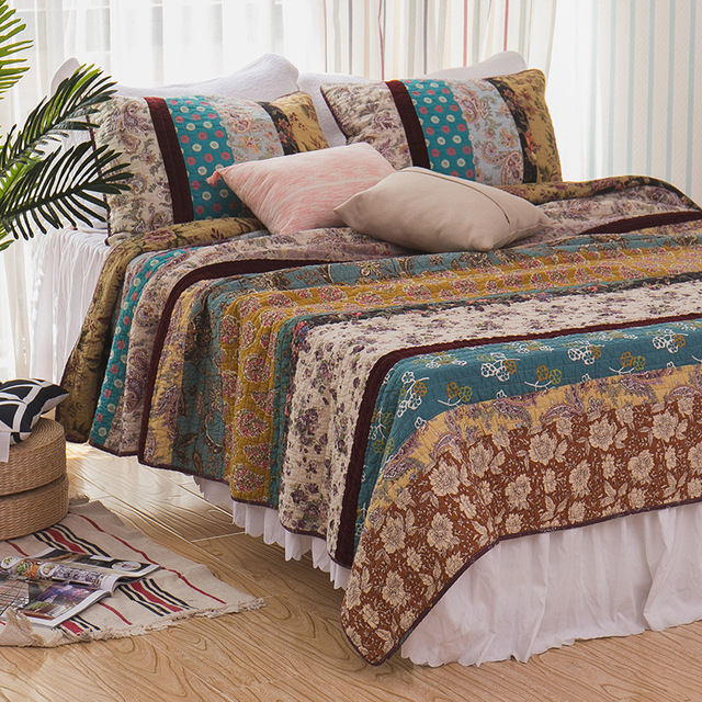 CHAUSUB Vintage Handmade Patchwork Quilt Set 3PCS Washed Cotton ... : cotton quilts - Adamdwight.com