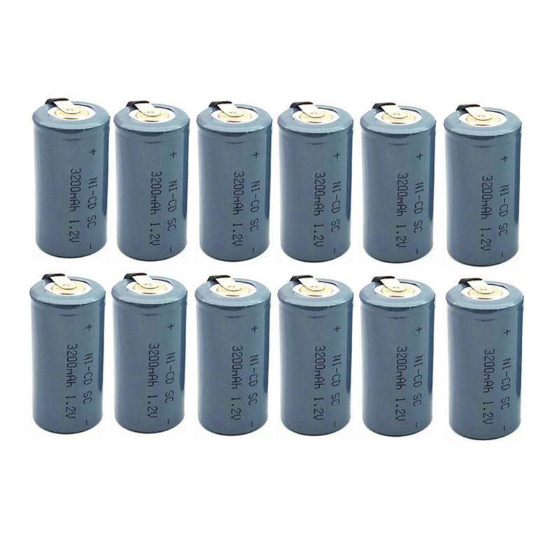 10PCS High Quality Ni-CD SC 1.2V Rechargeable Battery  3200mAh   Sub  SC Battery With Tab  For  Charging  Drill  Tools