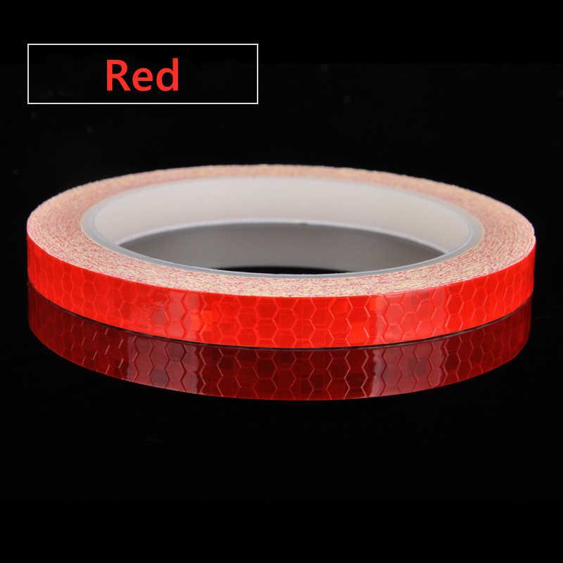 Stiker Reflektif Motor Sepeda Reflektor Sepeda Bersepeda Keamanan Roda Rim Decal Tape Neon Tahan Air 1 Cm * 8 M