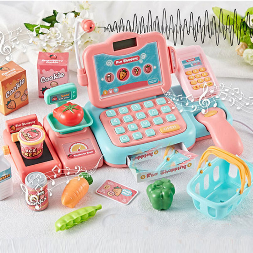 Image 2 - 24Psc/set Electronic Supermarket Cash Register Kits Kids Toy Simulated Checkout Counter Role Pretend Play Cashier Shopping Toys-in Groceries Toys from Toys & Hobbies