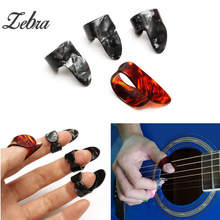 Zebra 4pcs/set Celluloid 1 Thumb + 3 Finger Guitar Picks Guitar Plectrums Sheath For Acoustic Electric Bass Guitar(China)