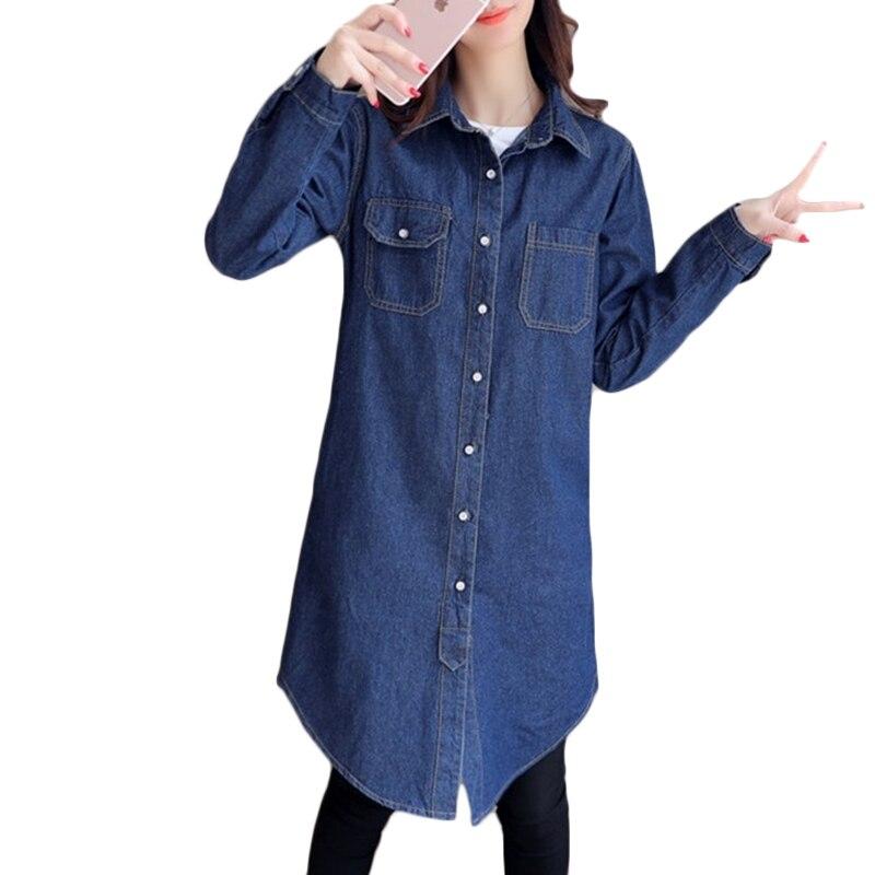 Otoño Delgado Coat Primavera De Navy Sueltan Marina Tops Mujeres Más Manga Azul Blue Denim A274 Abrigos Tamaño Trench Larga Estudiante dggn4vRx