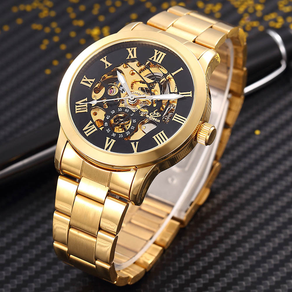 ShenHua Golden Skeleton Automatic Mechanical Watch Men Fashion Clock Mechanical Watches Men Steel Wristwatch Erkek Kol Saati