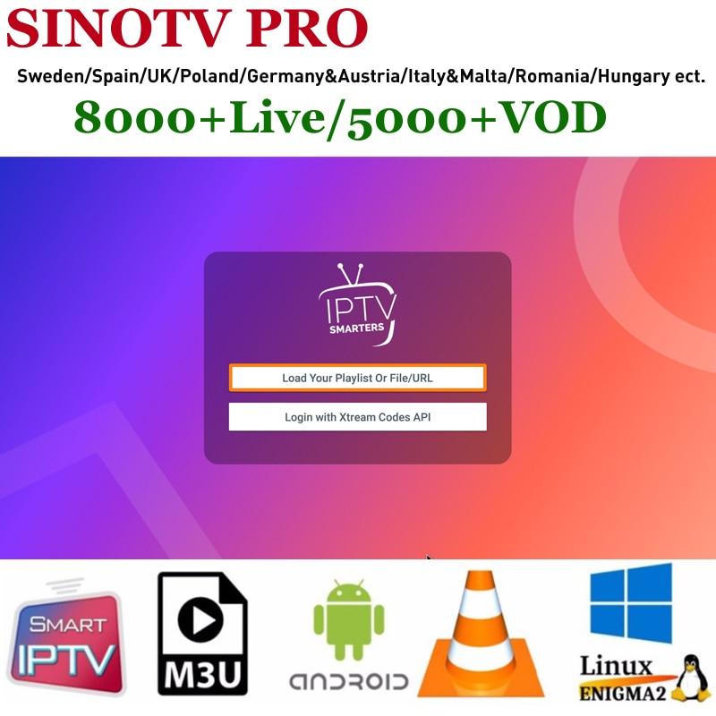 Latino IPTV Asia SINOTV PRO 1/3/6/12 Month For Android M3U VLC Smart TV  Engima2 Brazil Russia Albania Portugal Swedish IPTV