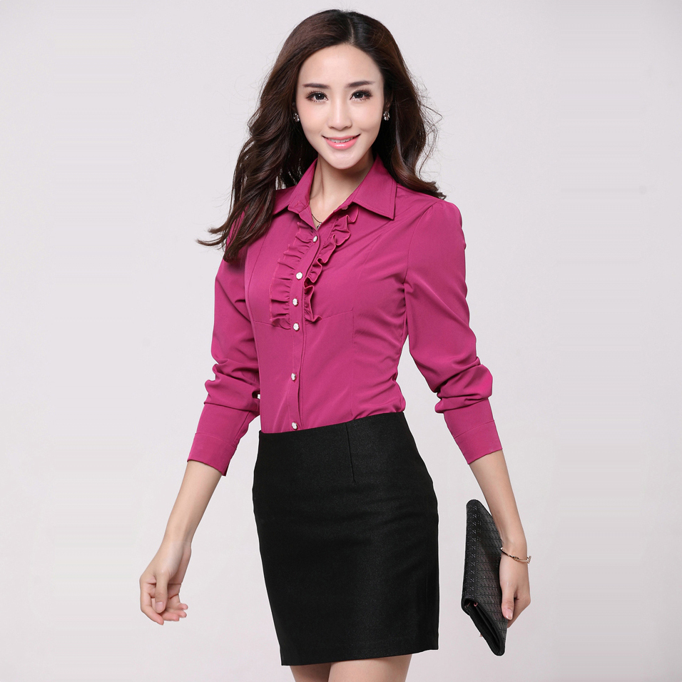New Plus Size Professional Office Women\'s Long sleeve Blouse Girls ...