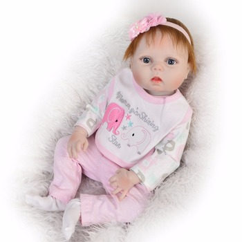 full body silicone Vinyl Boneca BeBes Reborn Doll with Pink elephant clothes For Girls toys cute baby Dolls 55cm Kids best gift