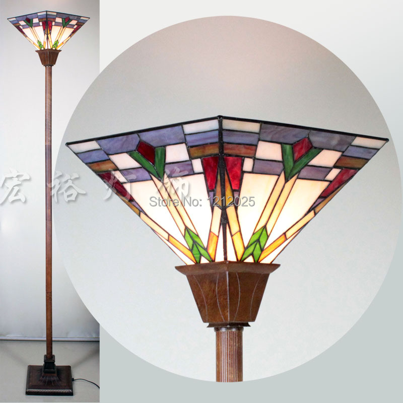 New Arrival Tiffany Glass Square Torchiere Lamp Floor Uplighter Living Room Bedroom Standing Lights Luminaria Home