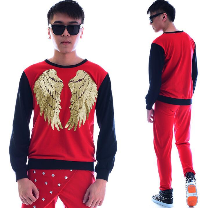 Mode punk slim sexy chemise rouge hommes à manches longues chemise adolescente coréenne hommes personnalité scène chanteur danse chemise + pantalon - 2