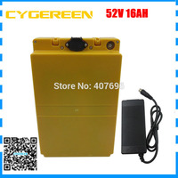 1500W 52V 16AH electric bicycle battery 51.8V 16AH 14S Li ion ebike battery pack with plastic case with 30A BMS 2A Charger