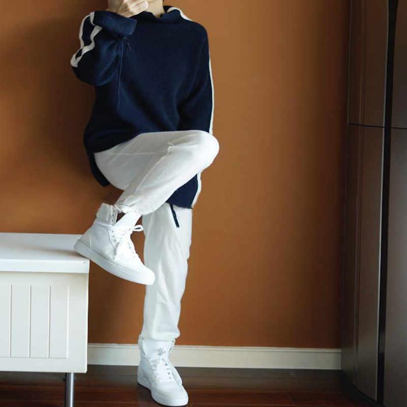 Для женщин свитер продажи и пуловеры 2018 новые женские кашемировый свитер куча воротник чистый хит свободные Повседневное вязать теплые женские
