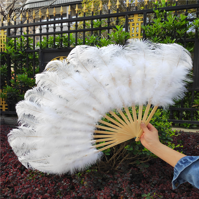 Image 5 - YOYUE 15 Bone Ostrich Feathers Fan Halloween Party Wedding  Celebration Belly Dance Show DIY Decorative Pink Feathers FanFeather
