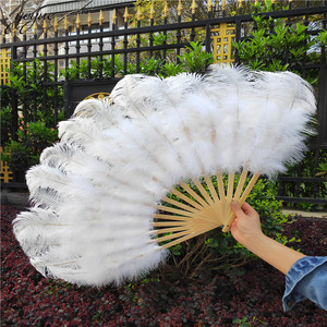 Image 5 - YOYUE 15 Bone Ostrich Feathers Fan Halloween Party Wedding Celebration Belly Dance Show DIY Decorative Pink Feathers Fan