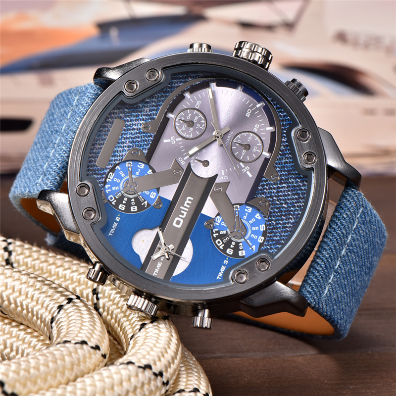 OULM Exaggerated Big Design Men's Watches Luxury Brand Two Time Zone Display Quartz Clock Male PU Leather Military Wristwatch