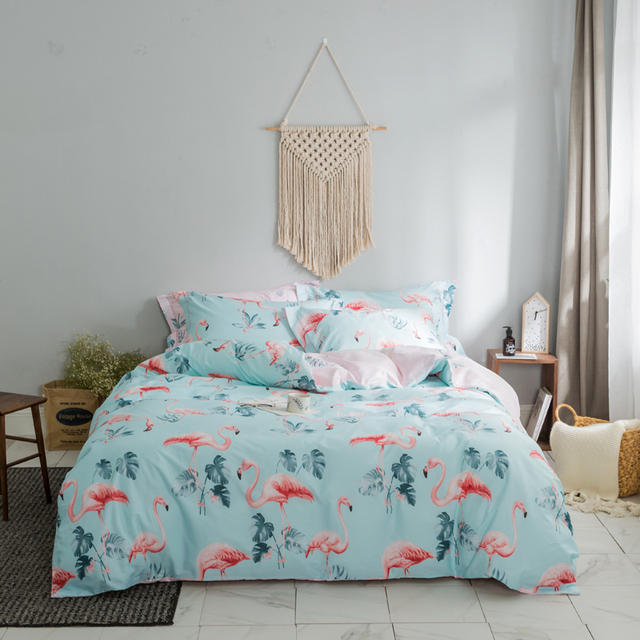 Queen King Size Fitted Sheet Bedsheet Bedding Set 100%Cotton Blue Birds  Floral Print Duvet