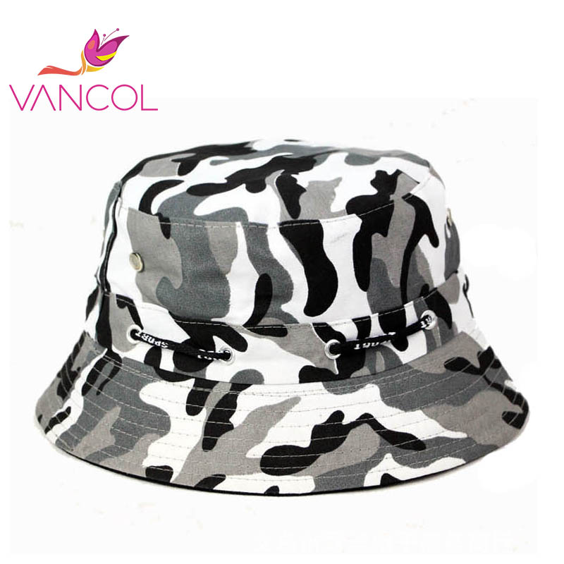 2016 Brand New Fashion Unisex Bucket Hats Camouflage Print Canvas Flat  Chapeau Bob Boonie Outdoor Bape 6385f6a6075
