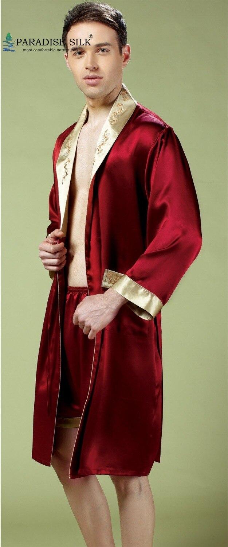 Mens Silk Robe 100 Pure Silk Men Sleepwear Kimono Robe Boxer Briefs Set Size L XL
