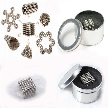 Envío libre 5mm 216 unids Neo Cube Cubo Mágico Puzzle Bolas Magnéticas con la caja de metal