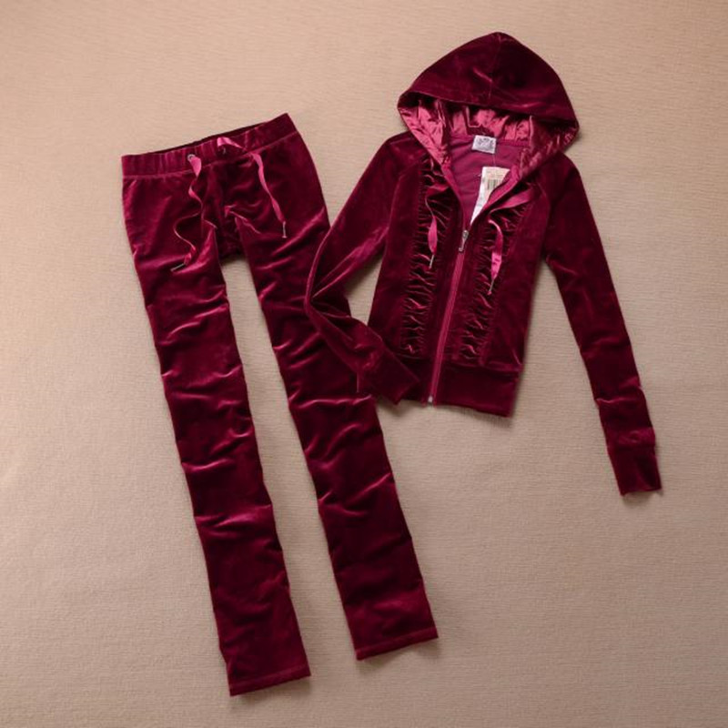 Newest Spring Autumn Pleuche Hooded Tops and Sweat Pants Set Tracksuit Women Outfits S-XL