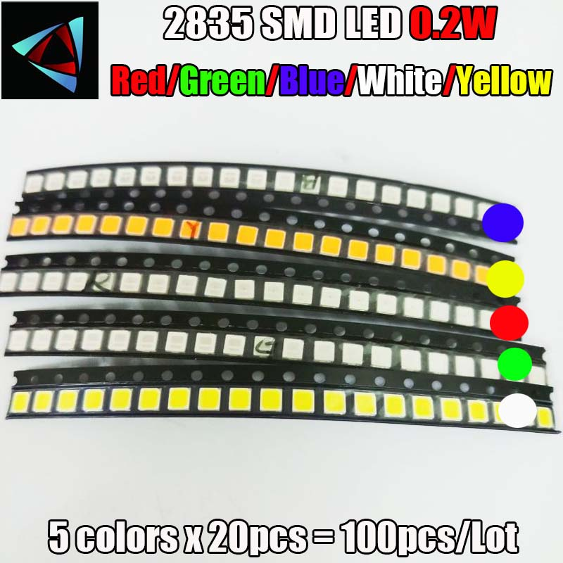 Electronic Components & Supplies Useful 1000pcs X 2835 Ice Blue Red Jade Green Warm White Orange Pink Purple Ultra Bright Smd Led Indication Free Shipping Active Components