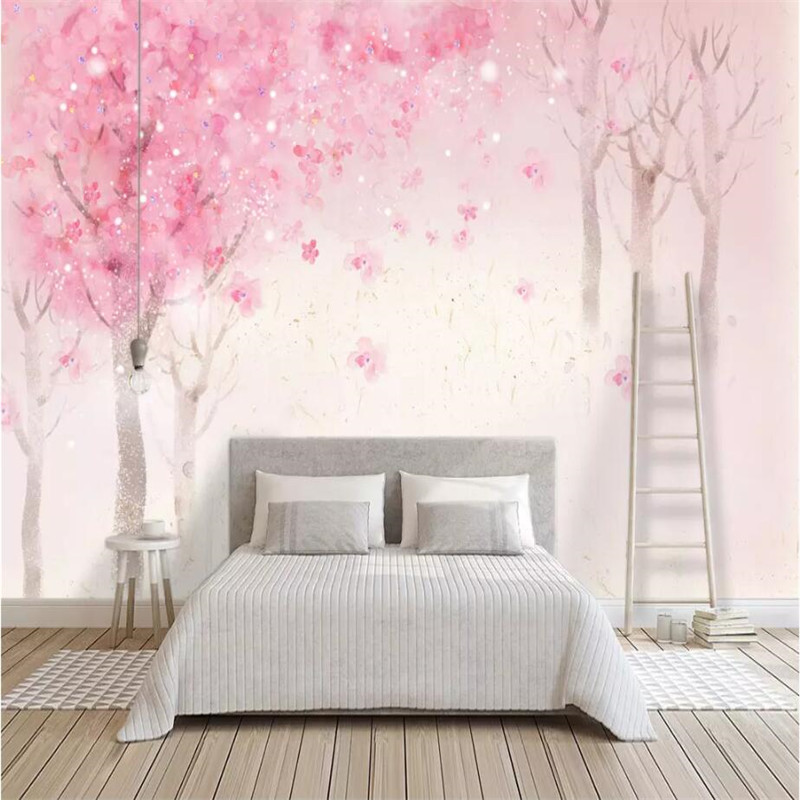 Hand-painted Nordic romantic cherry blossom wall professional production wallpaper mural custom poster photo