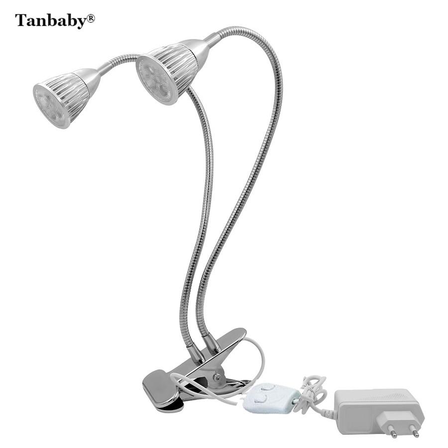 Tanbaby 10W Dual head Flexible Clip Full Spectrum Plant Grow Light LED Lamp Bulbs for Indoor Vegetable Flower