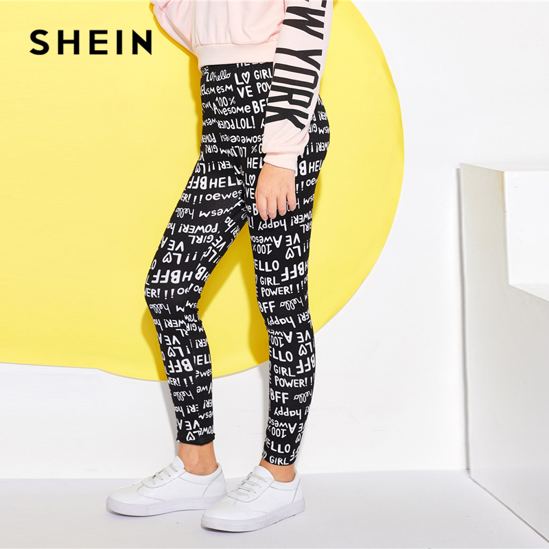SHEIN Kiddie Elastic Waist Letter Print Casual Girls Pants Kids Clothes 2019 Spring Streetwear Skinny Trousers Casual Leggings high waist lace up wide legs casual pants