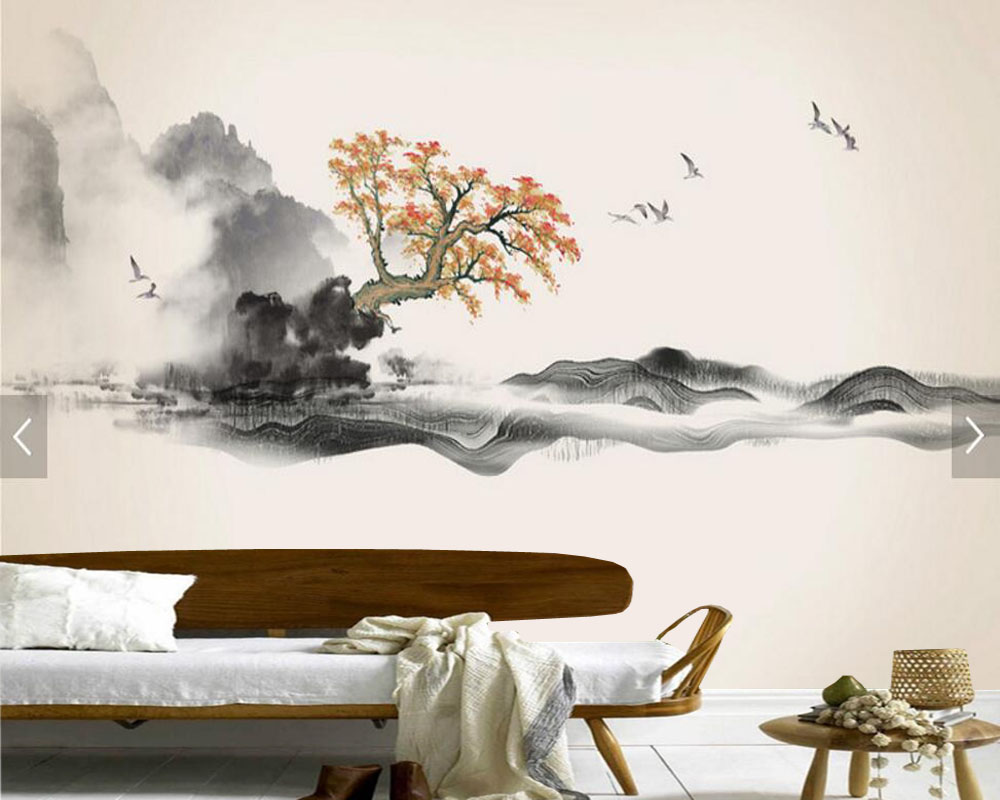 Chinese ink landscape painting wallpaper papel de parede,living room tv sofa wall bedroom study restaurant custom wall murals custom 3d murals cartoon wolf papel de parede hotel restaurant coffee shop living room sofa tv wall children bedroom wallpaper