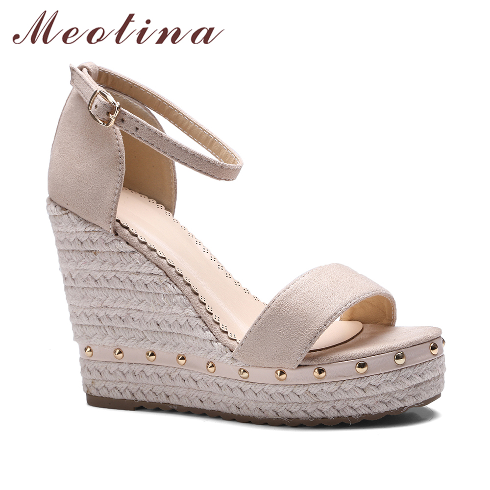 9076007f099132 Meotina Women Sandals Summer 2018 Platform Sandals High Heels Shoes Ankle  Strap Ladies Sandals Rivet Casual Footwear Pink Black-in High Heels from  Shoes on ...