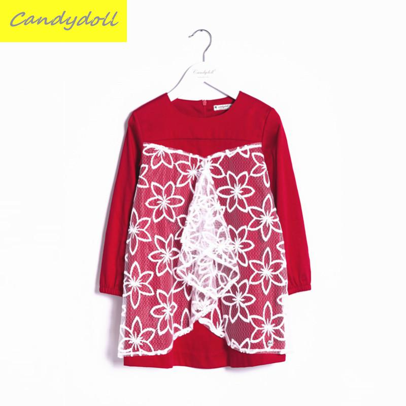 New arrival Spring/Autumn Children's Dress Girl Long Sleeve Lace Dress Party Dresses Girl Girls Clothes 5-10Y toddler girl dresses chinese new year lace embroidery flowers long sleeve baby girl clothes a line red dress for party spring