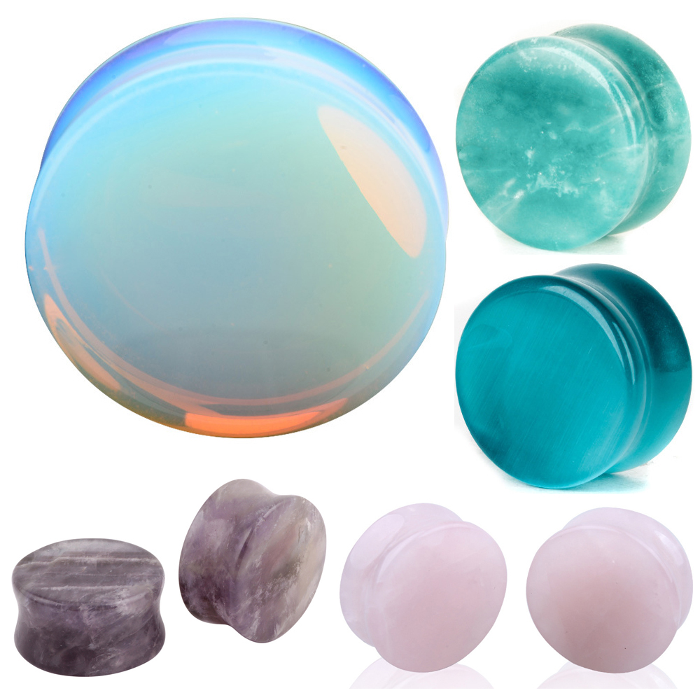Ear Expander Ear Piercing 1 Pair Of Opalite Stone Ear Plugs Tunnels Gauges Expander Body Piercing Jewelry(China)