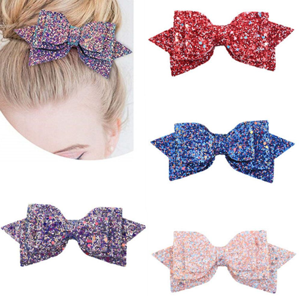 5pcs Sequin Hair Bow Clips For Women Girl Handmade Boutique Glitter Hairgrip Christmas Gift Kid Accessories