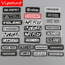 VIPOINT one set embroidery printed warning patches letter alphabet badges applique for clothing YM-29