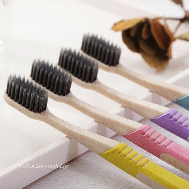 Trigo cepillo de dientes de alta calidad de carbón de bambú cepillo de cerdas cepillo ecológico cuidado K-666