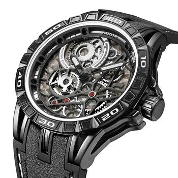 ONOLA Men's Unique Design Limited Military Black Mechanical Waterproof Japan Movement Quartz Watches