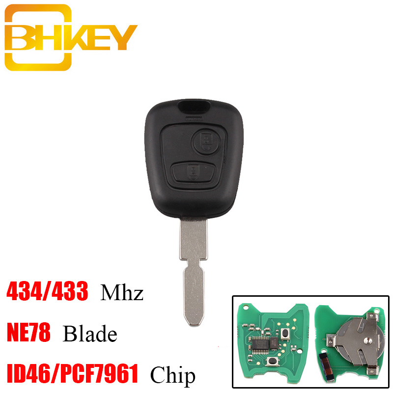 BHKEY 2 Buttons 434 Mhz <font><b>Remote</b></font> <font><b>key</b></font> Transponder Chip ID46/PCF7961 For <font><b>Peugeot</b></font> <font><b>406</b></font> 407 408 607 Uncut NE78 Blade Original <font><b>key</b></font> image
