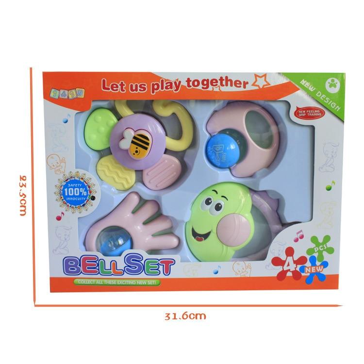 Купить с кэшбэком 4 PCS Mixed Baby Rattles Set Learning Fun Development Toys 0-12 Months