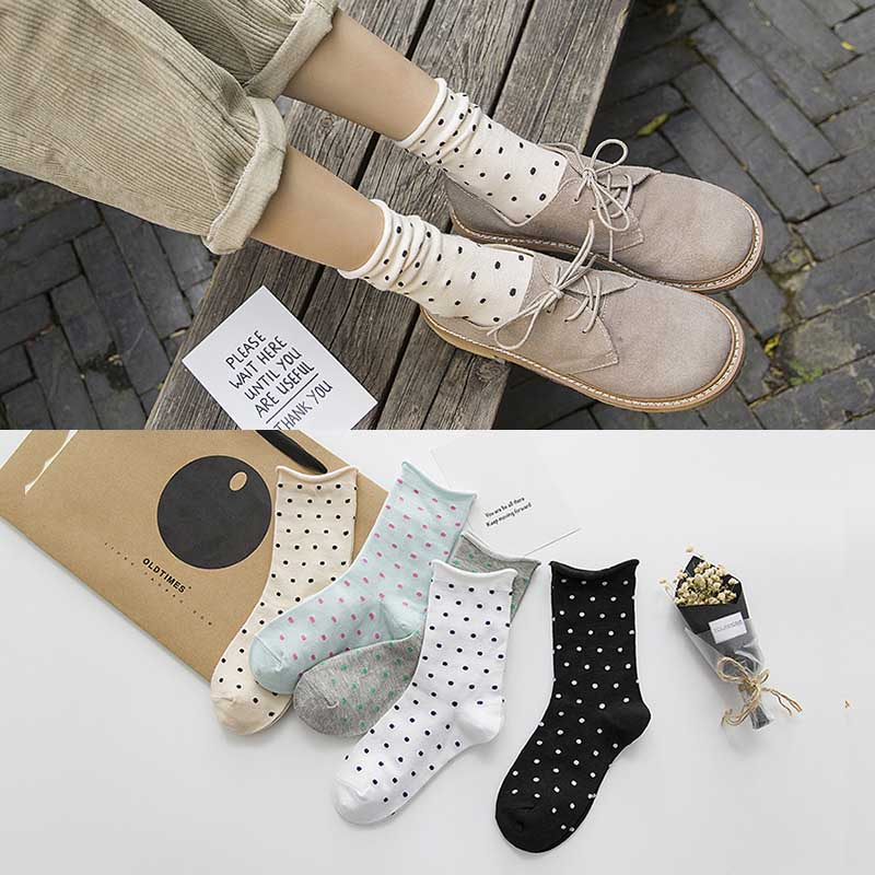 2019 Fashion New Autumn Winter Cute Ladies   Socks   Women Loose Retro Casual Style Polka Dot   Socks   Harajuku Female Sox
