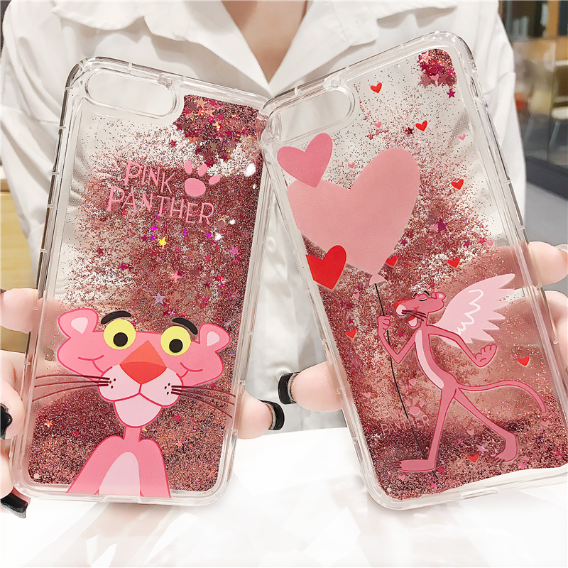 Cartoon Pink Panther Animals TPU Phone Case For Iphone 6 Cases 6S Plus Liquid Quicksand Glitter Case for Iphone 7 Cases 7 8 Plus