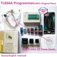 100% Original NEWEST V6.6 minipro TL866A usb programmer +10 items IC Adapters High speed TL866 Russian English manual