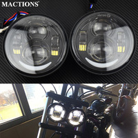 1pair 4.5 inch Motorcycle LED Black Chrome Headlamp Headlight With Daytime Running Light For Harley Dyna Fat Bob FXDF 2008 2016