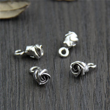 Real 925 Sterling Silver 3D Rose Charm Pendant Suit DIY Bracelet Necklace Fine Jewelry Accessories  A0223