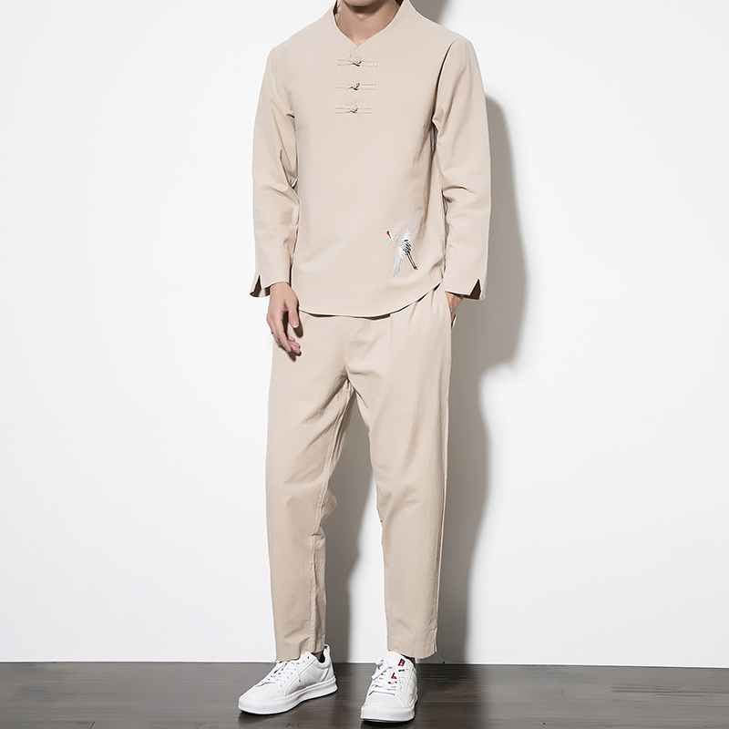 Competent 2019 Chinese Style Mens Set Black, Khaki, Fashion Loose Elegant Cotton Men Tee Shirt And Trousers Large Size 5xl