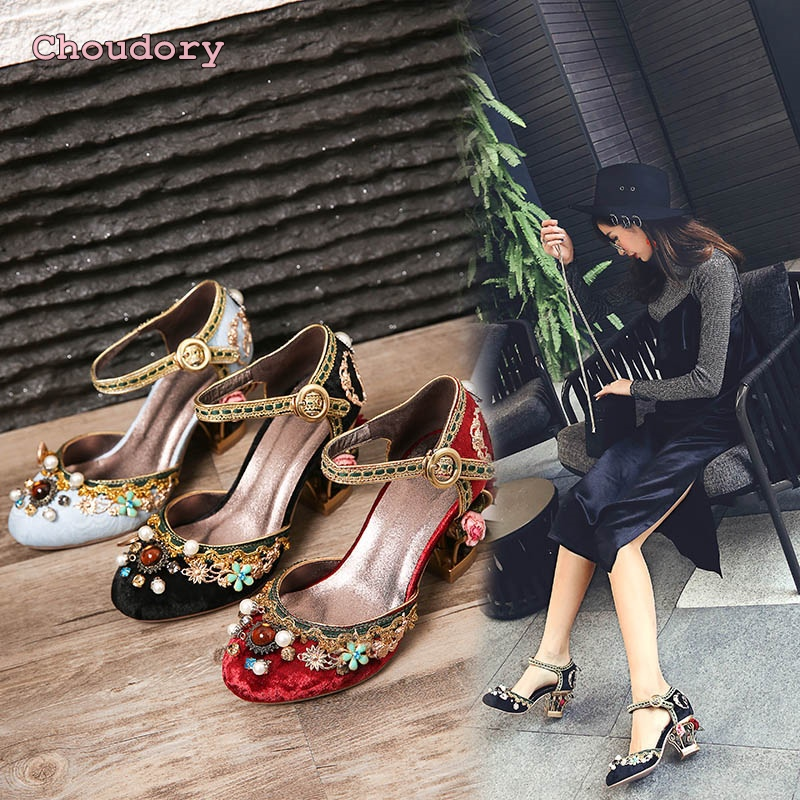 Retro wedding shoes female single buckle shoes flowers bird cage with sandals luxury diamond high-heeled shoes woman pumps