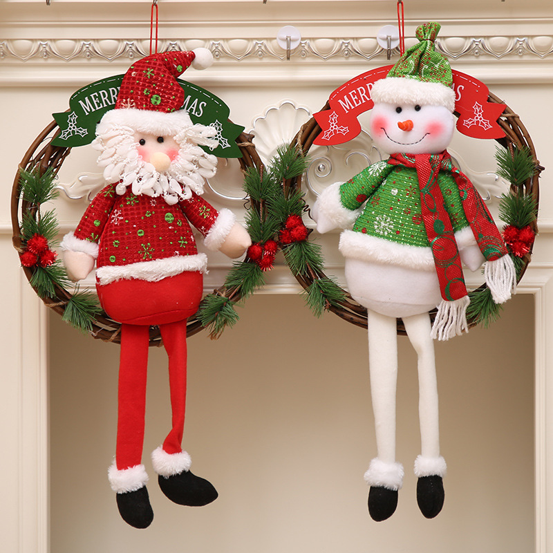 31cm Diameter Christmas Wreath Wood Snowman Santa Claus