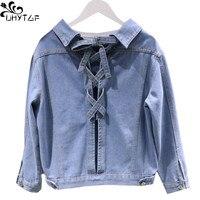 UHYTGF Fashion Women Denim Jacket Short Coat Autumn Befree Bomber Jacket Women Harajuku Bandage Bow CardiganTops Coat Female 356