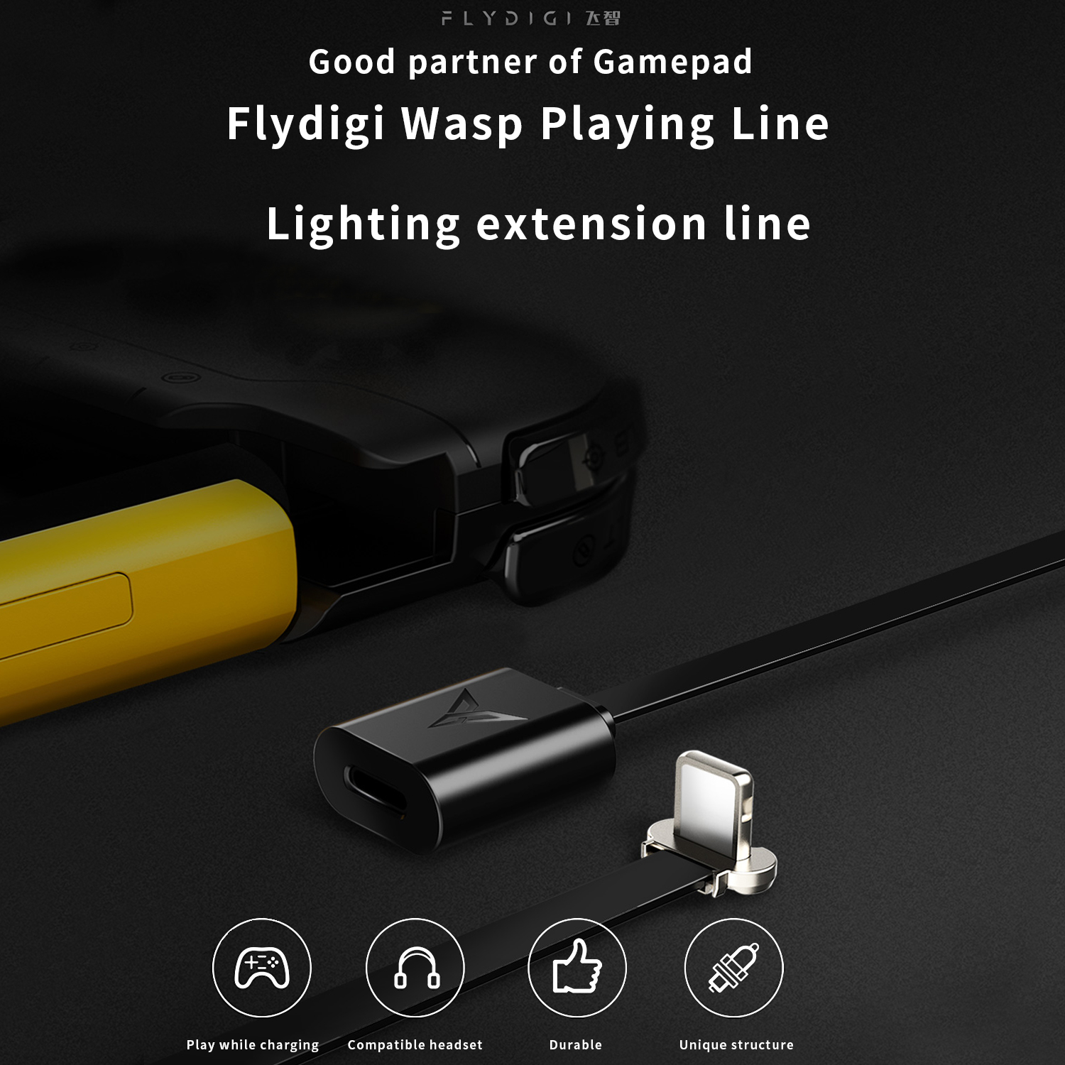 Flydidi Wasp Handle Wasp Playing Line Charging While Playing Games Gamepad Set Wee Handle Blue Bee Single Hand Handle Universal for iOS iPhone