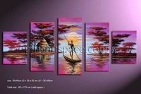 Free Shipping Modern Group Sunset Boat Purple Canvas Art Handpainted Oil Painting 5 Panel Picture Art