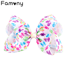 7 Inch Sweet Kids Polka Dots Printed Grosgrain Ribbon Large Hair Bow Rainbows Hairgrips for Girls Clip Accessories